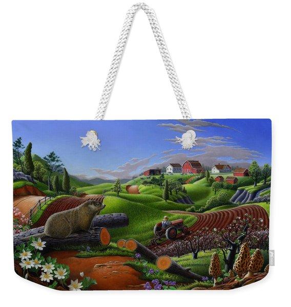 Farm Folk Art - Groundhog Spring Appalachia Landscape - Rural Country Americana - Woodchuck Weekender Tote Bag