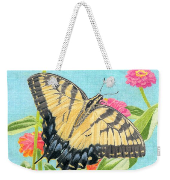 Swallowtail Butterfly And Zinnias Weekender Tote Bag