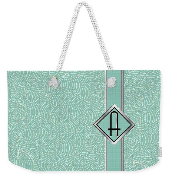 1920s Blue Deco Jazz Swing Monogram ...letter A Weekender Tote Bag