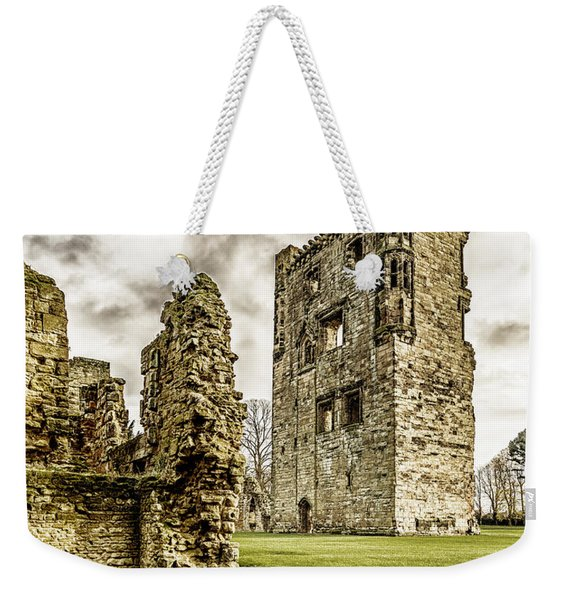 Weekender Tote Bag featuring the photograph Ashby Castle by Nick Bywater