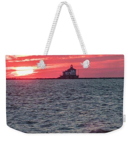 Ashtabula Ohio Lighthouse At Sunset  Weekender Tote Bag
