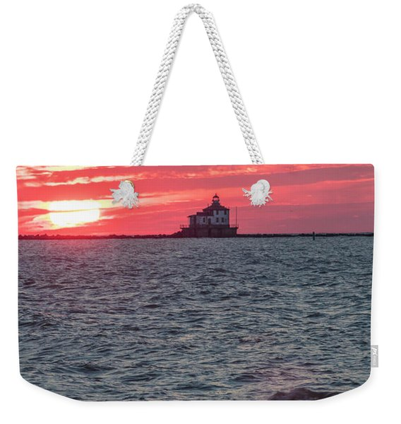 Ashtabula Ohio Lighthouse At Sunset  Weekender Tote Bag