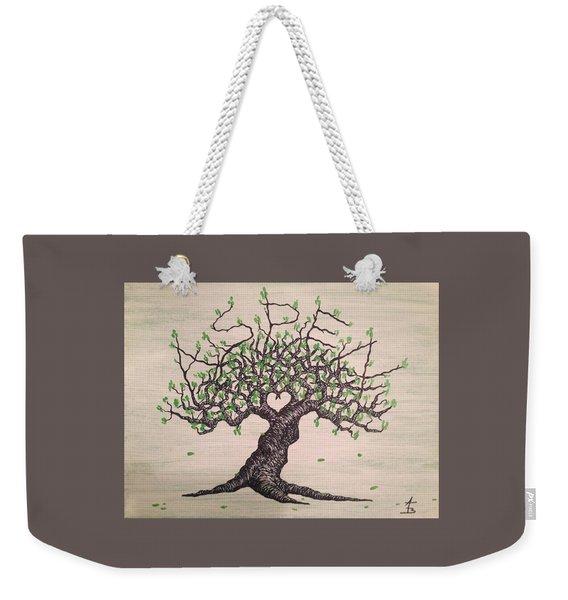 Weekender Tote Bag featuring the drawing Aspen Love Tree by Aaron Bombalicki