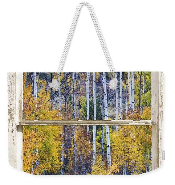 Aspen Tree Magic Cottonwood Pass White Farm House Window Art Weekender Tote Bag