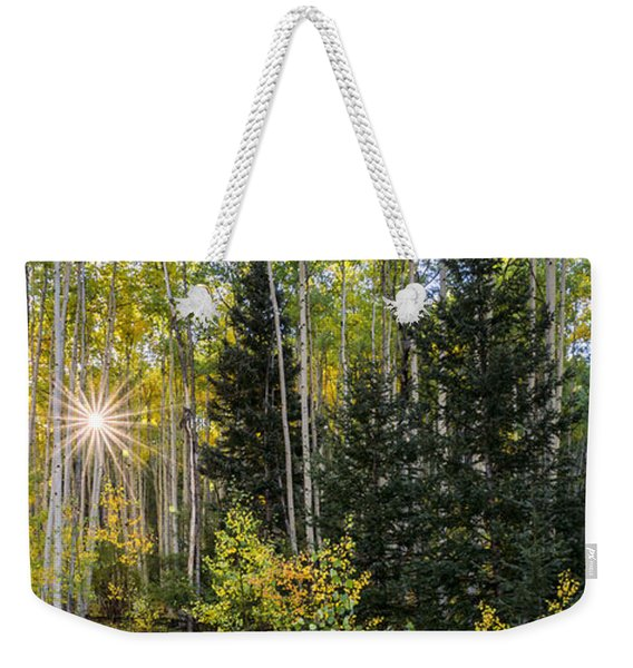 Aspens In Autumn 5 Panorama - Santa Fe National Forest New Mexico Weekender Tote Bag