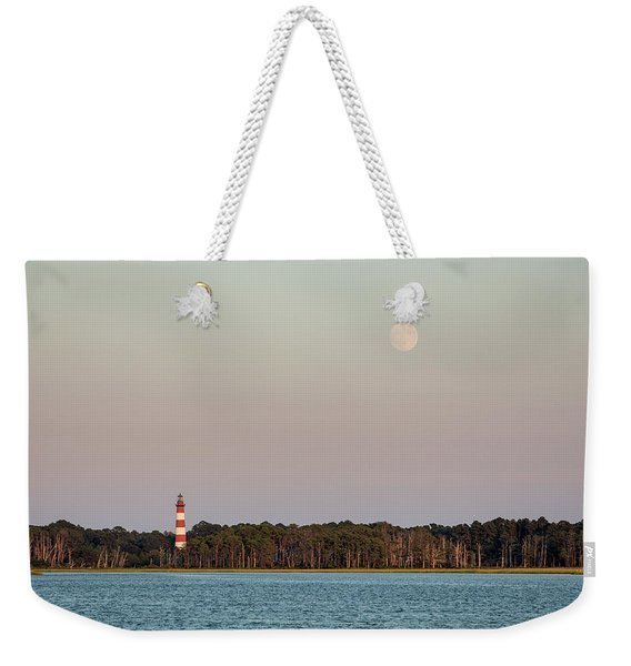 Assateague Light And The Full Moon Weekender Tote Bag