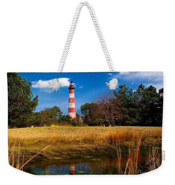 Assateague Lighthouse Reflection Weekender Tote Bag