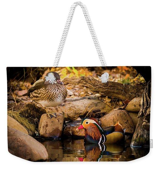 At The Waters Edge - Mandarin Ducks Weekender Tote Bag