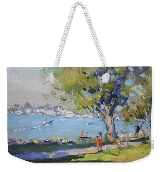 At Tonawanda Park By The River Weekender Tote Bag