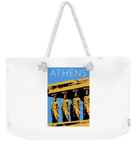 Weekender Tote Bag featuring the digital art Athens Erechtheum Blue by Sam Brennan