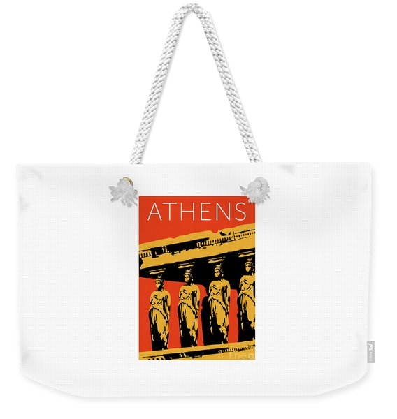Weekender Tote Bag featuring the digital art Athens Erechtheum Orange by Sam Brennan