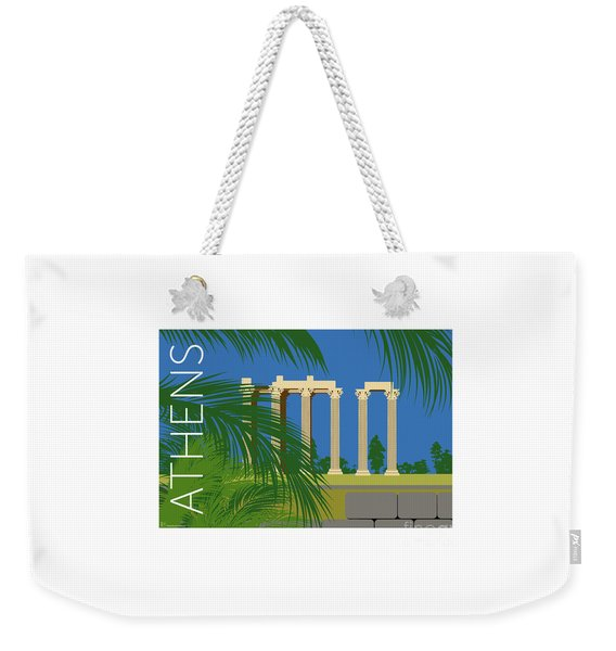 Weekender Tote Bag featuring the digital art Athens Temple Of Olympian Zeus - Blue by Sam Brennan