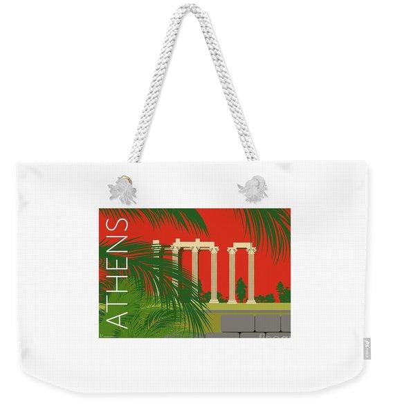 Weekender Tote Bag featuring the digital art Athens Temple Of Olympian Zeus - Orange by Sam Brennan