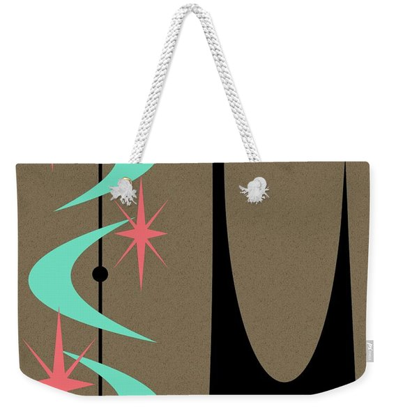 Weekender Tote Bag featuring the digital art Atomic Cat Aqua And Pink by Donna Mibus