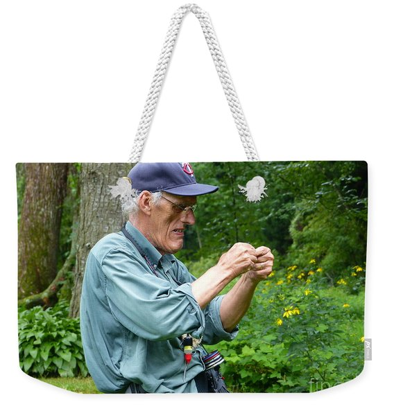 Attaching The Lure Up Close Weekender Tote Bag