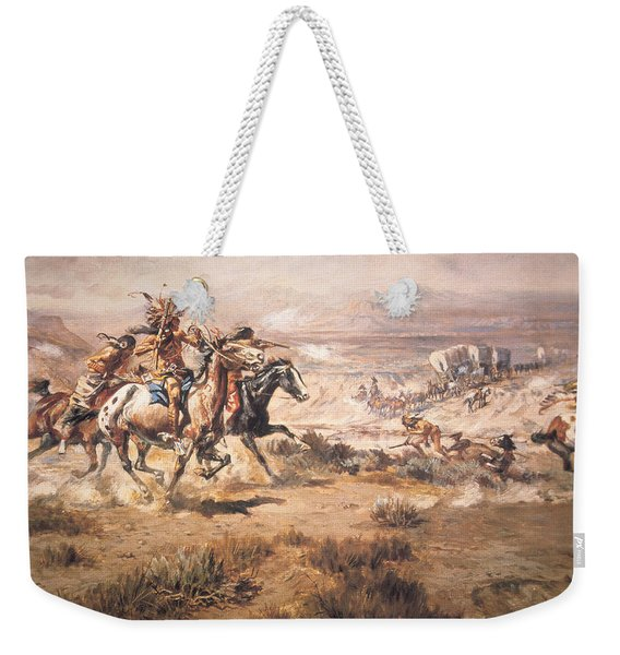 Attack On The Wagon Train Weekender Tote Bag