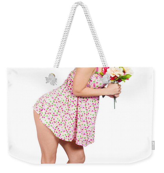 Attractive Asian Woman Holding A Flower Bunch Weekender Tote Bag