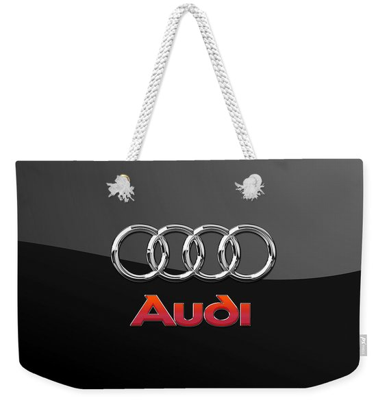 Audi 3 D Badge On Black Weekender Tote Bag