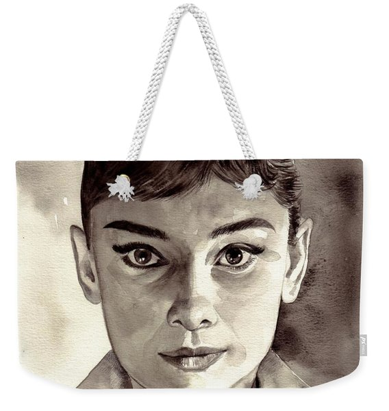 Audrey Hepburn Black And White Weekender Tote Bag