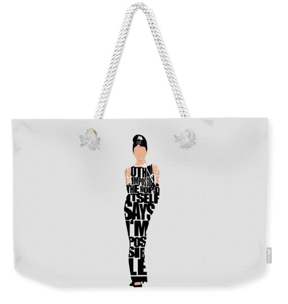Audrey Hepburn Typography Poster Weekender Tote Bag