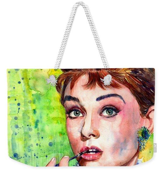 Audrey Hepburn Watercolor Weekender Tote Bag