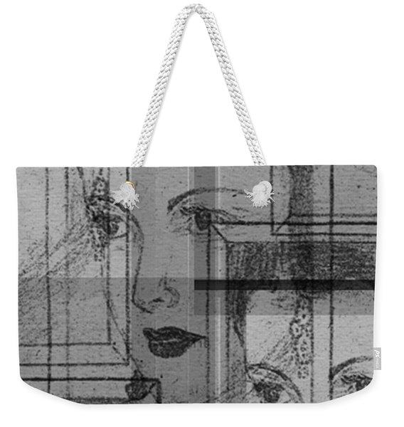 Aunt Edie Black And White Print Weekender Tote Bag