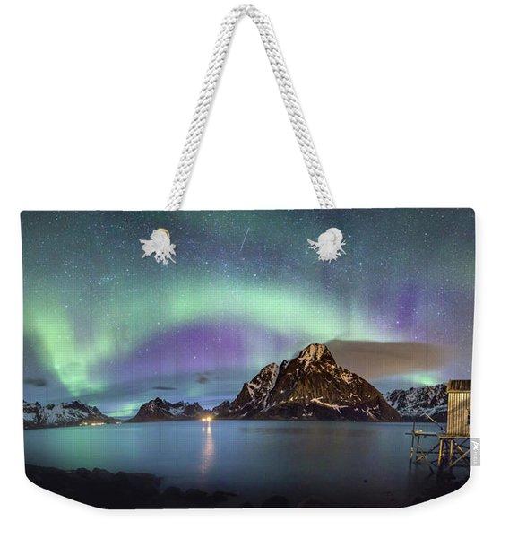 Aurora Above Reinefjord Weekender Tote Bag