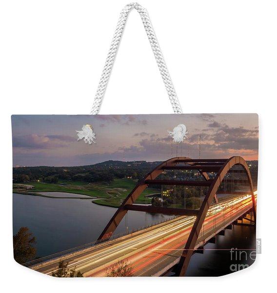 Austin 360 Bridge At Night Weekender Tote Bag