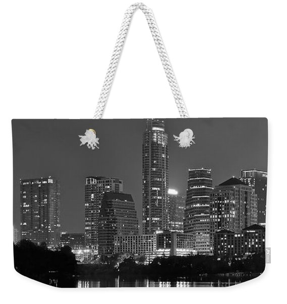 Austin Panorama Black And White Night Weekender Tote Bag