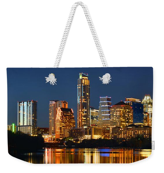 Austin Skyline At Night Color Panorama Texas Weekender Tote Bag