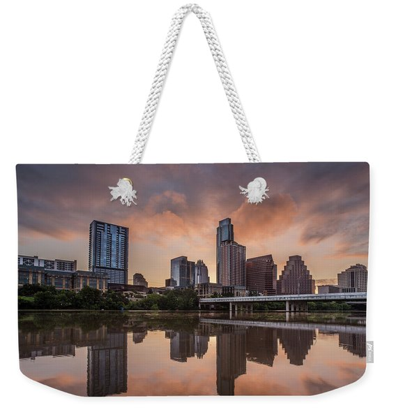 Austin Skyline Sunrise Reflection Weekender Tote Bag