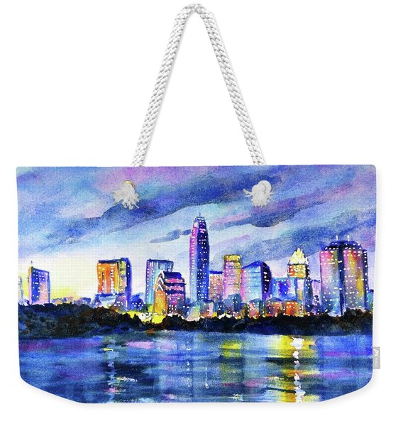 Austin Texas Colorful Skyline Sunset Weekender Tote Bag