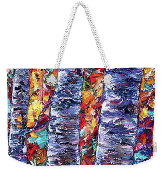Autumn  Aspen Trees Contemporary Painting  Weekender Tote Bag