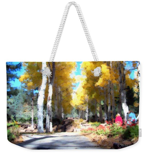 Weekender Tote Bag featuring the digital art Autumn Aspens by Deleas Kilgore