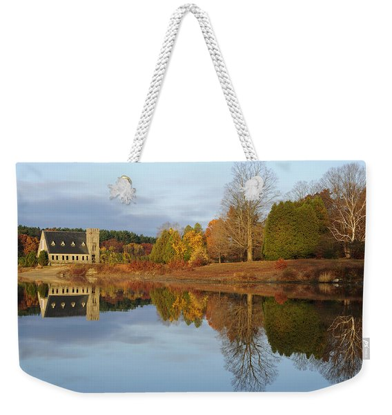 Autumn At The Old Stone Church Weekender Tote Bag