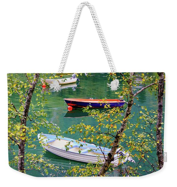 Autumn. Boats Weekender Tote Bag