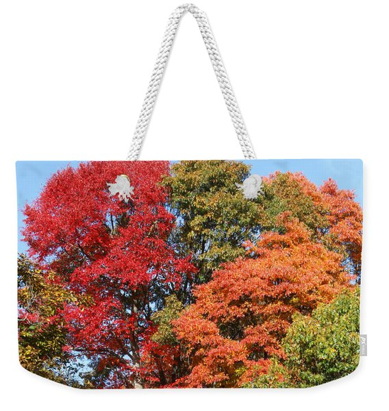 Weekender Tote Bag featuring the photograph Autumn Color Spray by William Selander