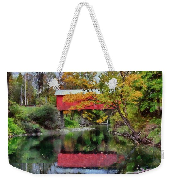 Weekender Tote Bag featuring the photograph Autumn Colors Over Slaughterhouse. by Jeff Folger