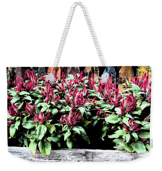 Weekender Tote Bag featuring the painting Autumn Fowers 9-11-15 by Mas Art Studio