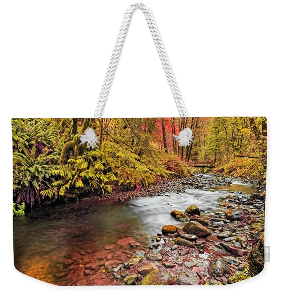 Autumn Sunrise In An Oregon Rain Forest  Weekender Tote Bag