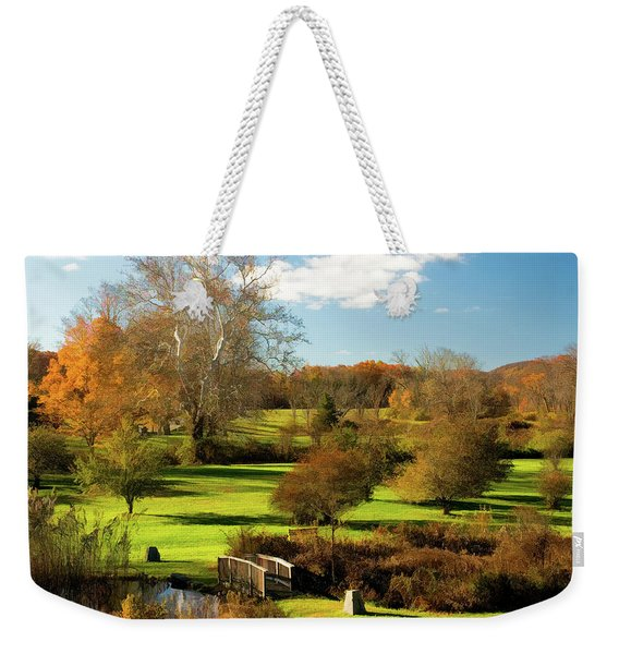 Weekender Tote Bag featuring the photograph Autumn In The Park by Nancy De Flon