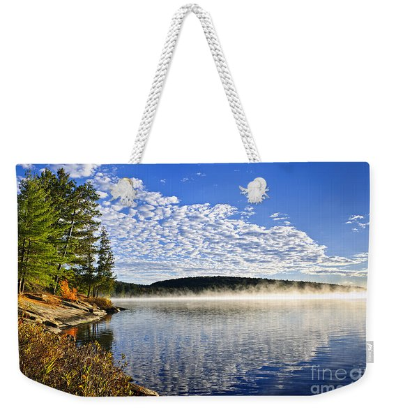 Autumn Lake Shore With Fog Weekender Tote Bag