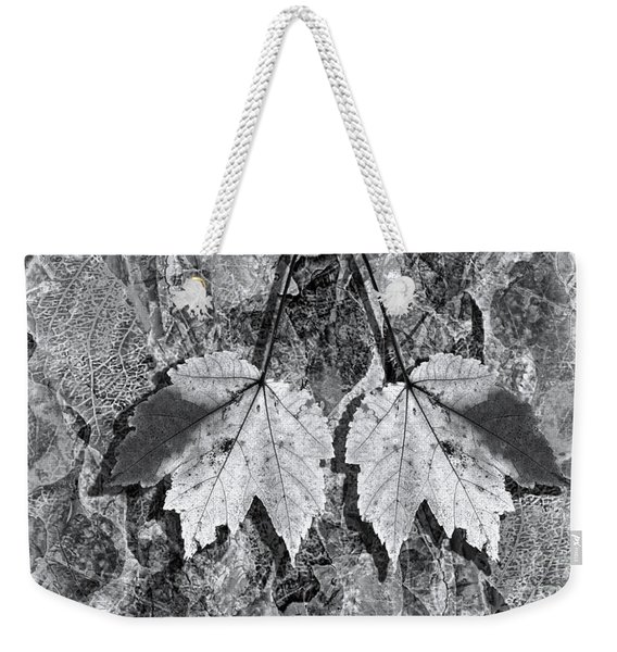 Autumn Leaf Abstract In Black And White Weekender Tote Bag