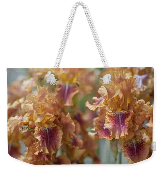 Autumn Leaves Irises In Garden Weekender Tote Bag
