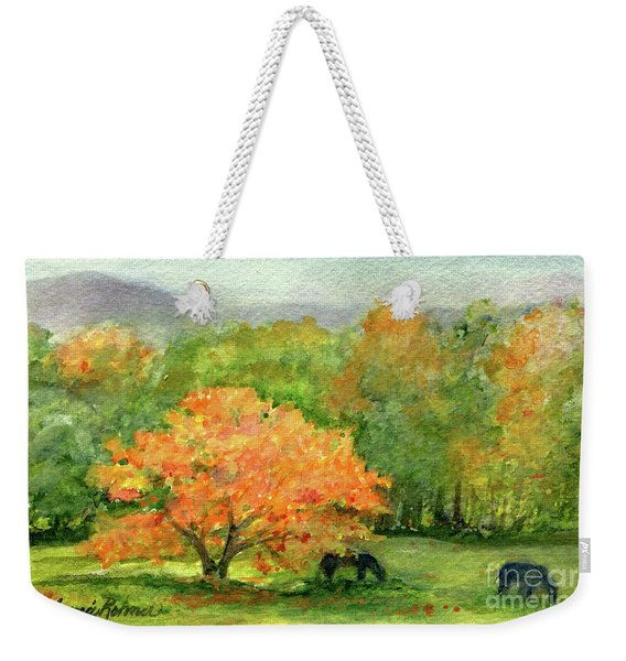 Autumn Maple With Horses Grazing Weekender Tote Bag