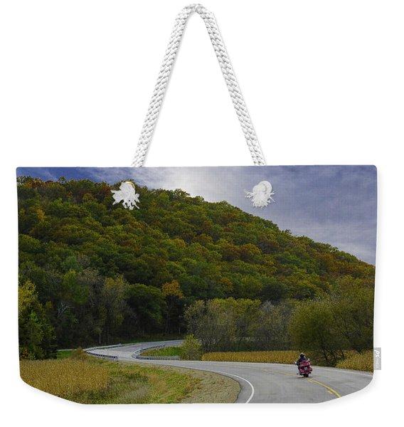 Autumn Motorcycle Rider / Red Weekender Tote Bag
