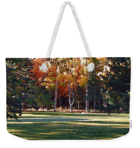 Weekender Tote Bag featuring the digital art Autumn Park by Deleas Kilgore