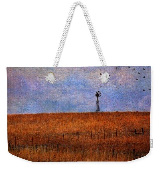 Autumn Prairie Windmill Weekender Tote Bag