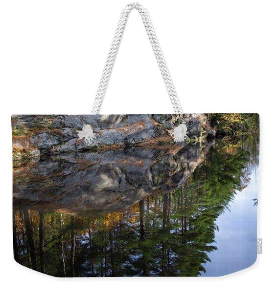 Autumn Reflections At Runaround Pond In Durham Maine  -20224 Weekender Tote Bag