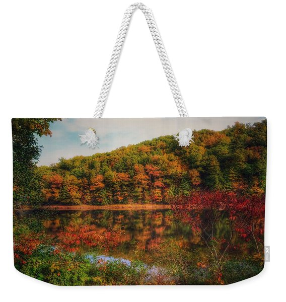 Autumn Reflections On The Clarion River Weekender Tote Bag